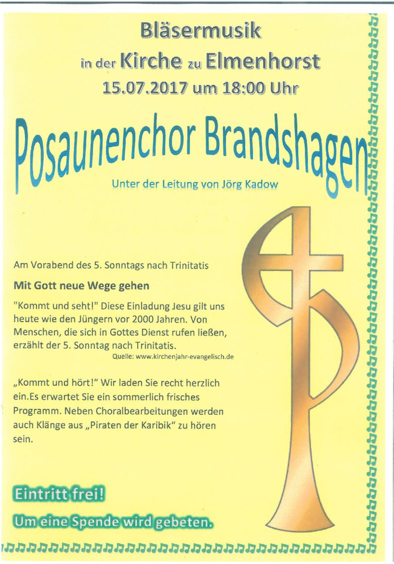 Veranstaltung – 2017_06 Bläsermusik mit dem Posaunenchor Brandshagen (Webseite & Facebook)